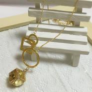 デザインリング&立方体イエローストーンの繊細K16GPゴールドチェーンネックレス