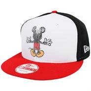DIS77 NEWERA × DISNEY ニューエラ × ディズニー ミッキーマウス スパンコール 9フィフティー スナップバックキャップ ホワイト/ブラック/レッド