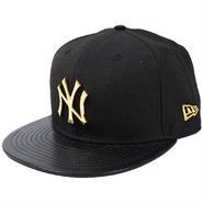 BGE08 NEWERA ニューエラ メタリックバッジ 9フィフティー フィッテッドキャップ ヤンキース ブラック/ゴールド