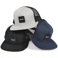 HUF568 HUF BOX LOGO TRUCKER MESH CAP BLACK、GRAY、NAVY ハフ ボックスロゴ トラッカーメッシュキャップ ブラック、グレー、ネイビー