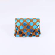 ドットレザーミニウォレット ブルー×キャメル 【Dot Mini Wallet Blue】