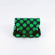 ドットレザーミニウォレット グリーン×ネイビー 【Dot Mini Wallet Green】