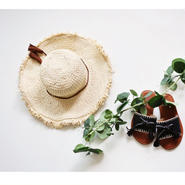 Kids★paper tassel RAFIA HAT 《Peach&Cream》