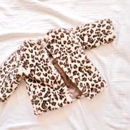 kids★leopard fur furcoat