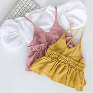 kids★peprum bustier+balloon sleeve tops 2set!