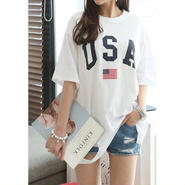 【ladies】USA damage T-shirt