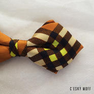 silk check bow tie