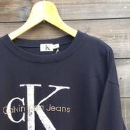 CK CalvinKlein Jeans/カルバンクラインジーンズ ロゴ刺繍ロンT 90年代 (USED)