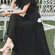 レディース 海外 インポート ブラック フリル シフォン マキシ ワンピース ドレス ロング 黒