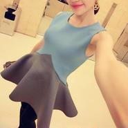 海外インポートセレクト水色×グレーバイカラーデザインフレアミニワンピースドレス