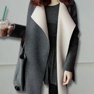 海外インポートグレーベージュバイカラーデザインジャケットコート
