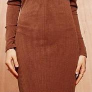 海外 インポート ブラウン リブ ニット タイト オフショルダー ワンピース ドレス