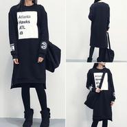 海外インポートブラックホワイトロゴデザイントレーナーワンピースドレス長袖黒白色
