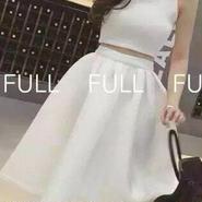 レディース ホワイト ショート丈 トップス フレア ミモレ スカート セットアップ ワンピース ドレス 白