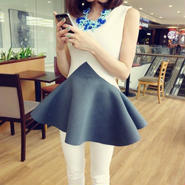 海外インポートセレクトホワイト×グレーフレアミニワンピースドレス白色