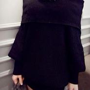 海外 インポート セレクト ブラック リブ ニット オフショルダー ワンピース ドレス ミニ 黒