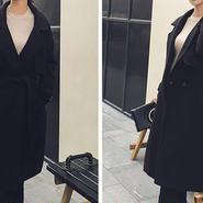 レディース ブラック ざっくり 腰ひも ベルト 付き ガウン ジャケット コート アウター 黒