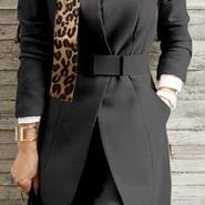 レディース ブラック ノーカラー ジャケット パンツ スーツ セットアップ ベルト 付き 黒 フォーマル
