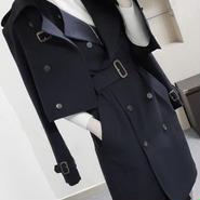 海外 インポート ネイビー トレンチ ジャケット コート ベルト付 ワンピース セットアップ