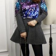 海外インポートセレクトグレーカラフルスパンコール付セータースカートセットアップワンピースドレス