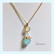 カルセドニのネックレス sea blue