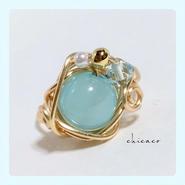カルセドニのワイヤーリング sea blue