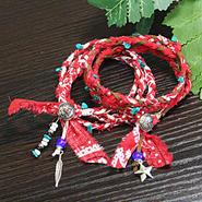 赤バンダナ ネックレス&ブレスレット  2Waytype