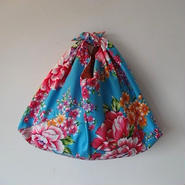 花布あづま袋・ブルー/ 艶やか牡丹×ピンクのドット柄