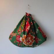 花布あづま袋(L)・緑色アンティーク/オレンジストライプ
