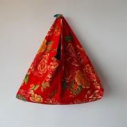 花布あづま袋(L)・紅色アンティーク/青系ストライプ