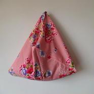 花布あづま袋 ピンク×オレンジストライプ