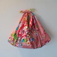 花布あづま袋・ピンク/艶やか牡丹×薄いグリーンのストライプ