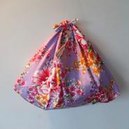 花布あづま袋・藤色/艶やか牡丹×薄茶のストライプ