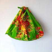 花布あづま袋・セピアグリーン×オレンジストライプ