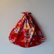花布あづま袋・赤×青系ストライプ