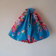 花布あづま袋・ブルー×ピンクのドット柄