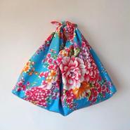 花布あづま袋(L)・ブルー/ 艶やか牡丹×ピンクのドット柄