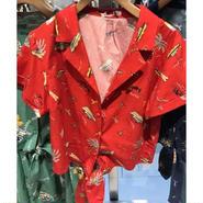 ヨット柄シャツ  RED