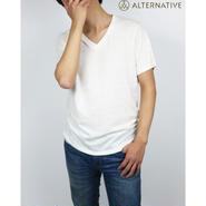 Alternative Apparel(オルタナテ ィブアパレル)Boss V-Neck Eco-J ersey T-Shirt VネックT アイボリー