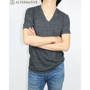 Alternative Apparel(オルタナテ ィブアパレル)Boss V-Neck Eco- J ersey T-Shirt VネックT ブラック