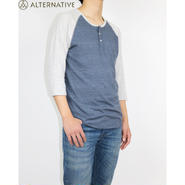 ALTERNATIVE(オルタナティブアパレル)Basic Eco-Jersey 3/4 Sleeve Raglan Henley Shirt ラグランシャツ