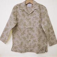 オリエンタル アロハシャツ (男性Mサイズ長袖) ネップ地に竹柄
