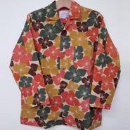 オリエンタル アロハシャツ (男性Mサイズ長袖) ベージュ 花柄