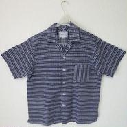 オリエンタル アロハシャツ  (男性Lサイズ半袖) 濃紺地・リズミカルな白色柄