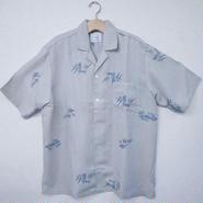 オリエンタル アロハシャツ (男性3Lサイズ半袖) 白 藍網目模様