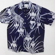 オリエンタル アロハシャツ  (男性2Lサイズ半袖) 濃紺・杜若