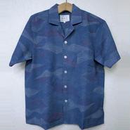 オリエンタル アロハシャツ (男性Lサイズ半袖) 薄地 青地波線