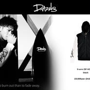 DAZZLE  S-arm ZIP HOODY BLACKxWHITE