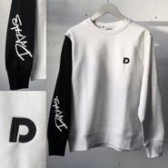 DAZZLE  S-arm crew sweat  WHITExBLACK