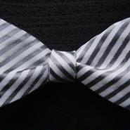 3P Silk Rep Stripe Butterfly Tie (Silver)
